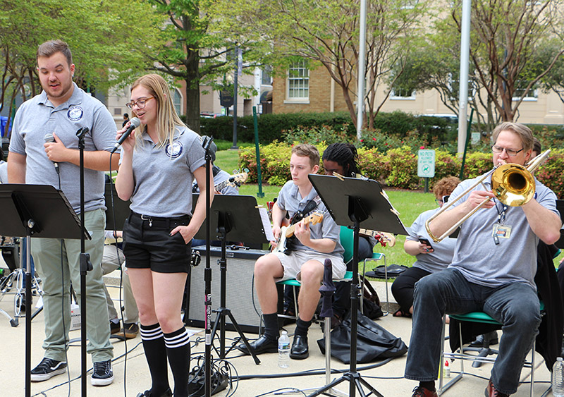 Emma Tracy performing with TCC's Blue Moon Jazz ensemble at the Norfolk Campus.