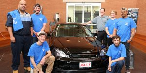 Jordan McNair's Honda PACT classmates who completed his project car are (standing left-right) Demian Rose, Demetrio Gallegos, Zack Kronske, instructor David Lee, Christian Benner, Dominique Martin and Eric Carmel. Not pictured, Drew Isom.