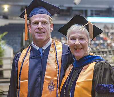 Student speaker Tony Sawyer and President Kolovani at TCC's 66th Commencement Exercises.