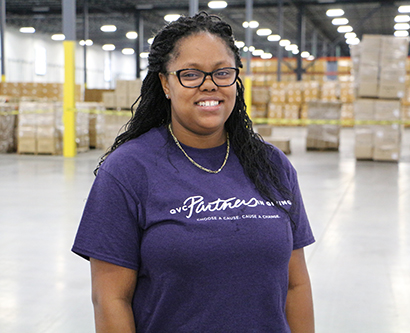 Quanisha Bates, distribution operator at QVC who is pursuing an Associate of Science in Science at TCC.