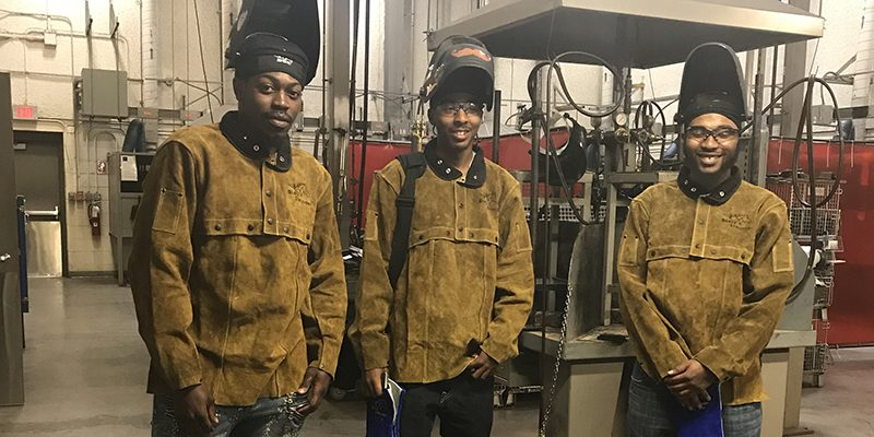 Bridge Plus program students in the welding lab on the Portsmouth Campus.