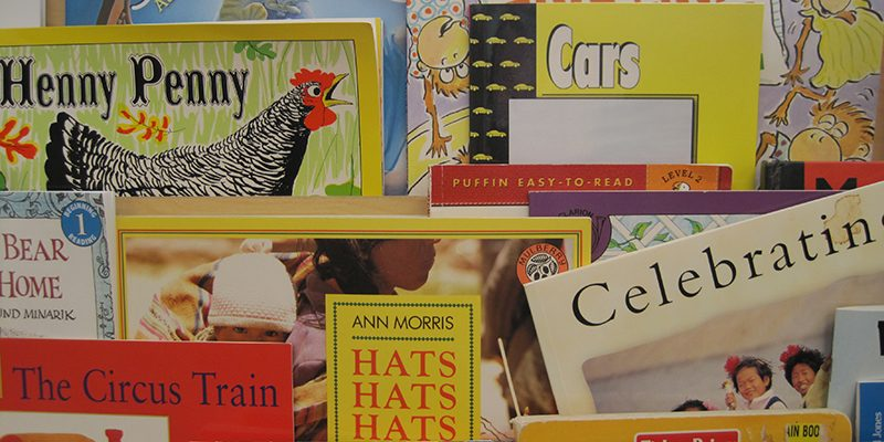 Close-up of children's books in early childhood education classroom.