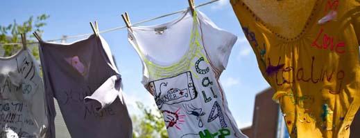 T-shirts on a clothesline outside