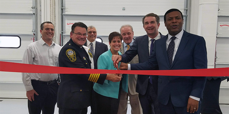 Priority Technical Training Center ribbon cutting with Gov. Ralph Northam, Mayor Kenny Alexander (right), Sheriff Joe Baron, Provost Lisa Rhine and Dennis Ellmer (center), along with Beno Rubin and Stacy Cummings.