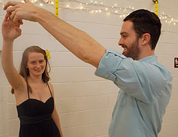 Two TCC students practice ballroom dancing.