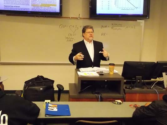 Professor Peter Shaw shares real-world experience during lectures.
