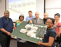 Professor Jean-Claude Guilbaud gave the thesis project an A. From left, Babalola Fabahunsi, Shavon Daniels, Al McClenney, Gilbaud, Turnipseed and Simpson.