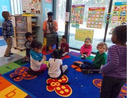 Children at Chesapeake begin their day with circle time.