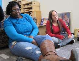 Early Childhood Education students enjoy circle time;  Valerie Johnson, left, and Gina Dale
