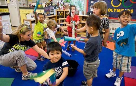 Children at the Child Development Lab on the Virginia Beach Campus celebrate the Olympics