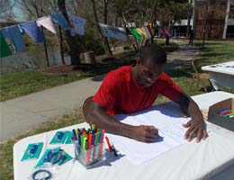A student creates a tshirt