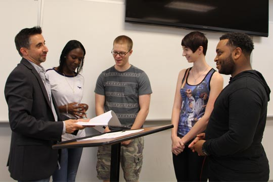 Professor Antonio Passaro with criminal justice students