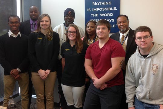 The criminal justice organization on the Portsmouth Campus: back row, Greg Foriest, Rayford Walker, Kenya Speight (president), professor Rick James; front row, Deangelo Clarke, Krystyn King, Olivia Hammack, Richard Smith and Shawn Allen.