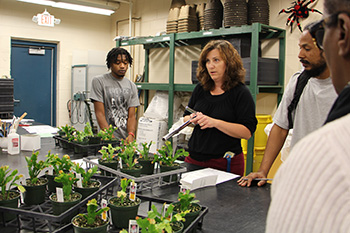 Horticulture instructor speaks to students while holding plants