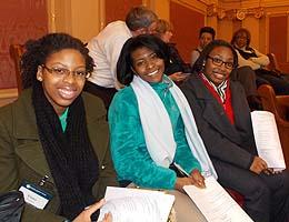Tiana Porter, Janae Thompson and Ta'Nya Snead on the Capitol balcony.