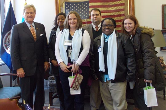 Sen. Jeff McWaters with students Becky Davis, Michelle Hedger, Frank Dixon, Tawanda Cofield and Brittany Mosteller.