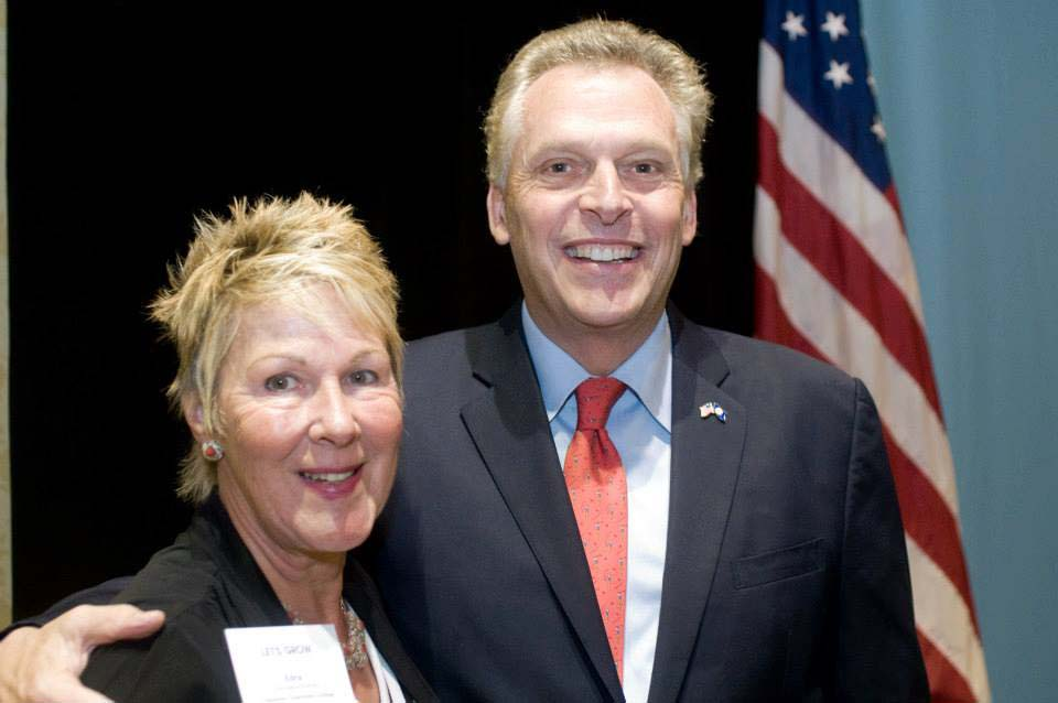 TCC President Edna Baehre-Kolovani poses with gubernatorial candidate Terry McAuliffe.