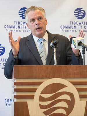 Gov. Terry McAuliffe speaking at TCC's Portsmouth Campus Dec. 11, 2015