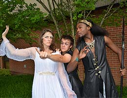 Catherine Gendell (Titania), Alex Smith (Puck) and Daquan Phillips (Oberon)
