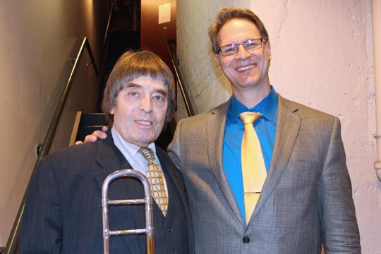 Legendary jazz trombonist Bill Watrous with Music Program Head Mark Denison