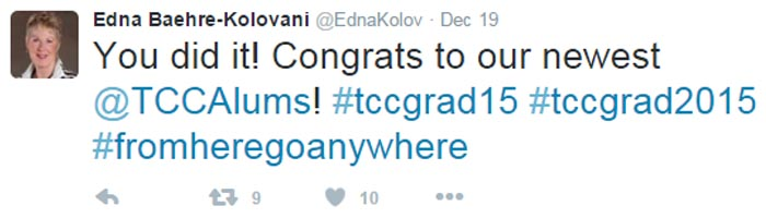 President Kolovani live tweeting from TCC's 61st Commencement Exercises