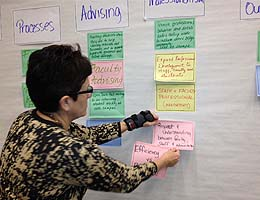 Catherine Merritt, professor at the Beazley School of Nursing, adds ideas to the wall.
