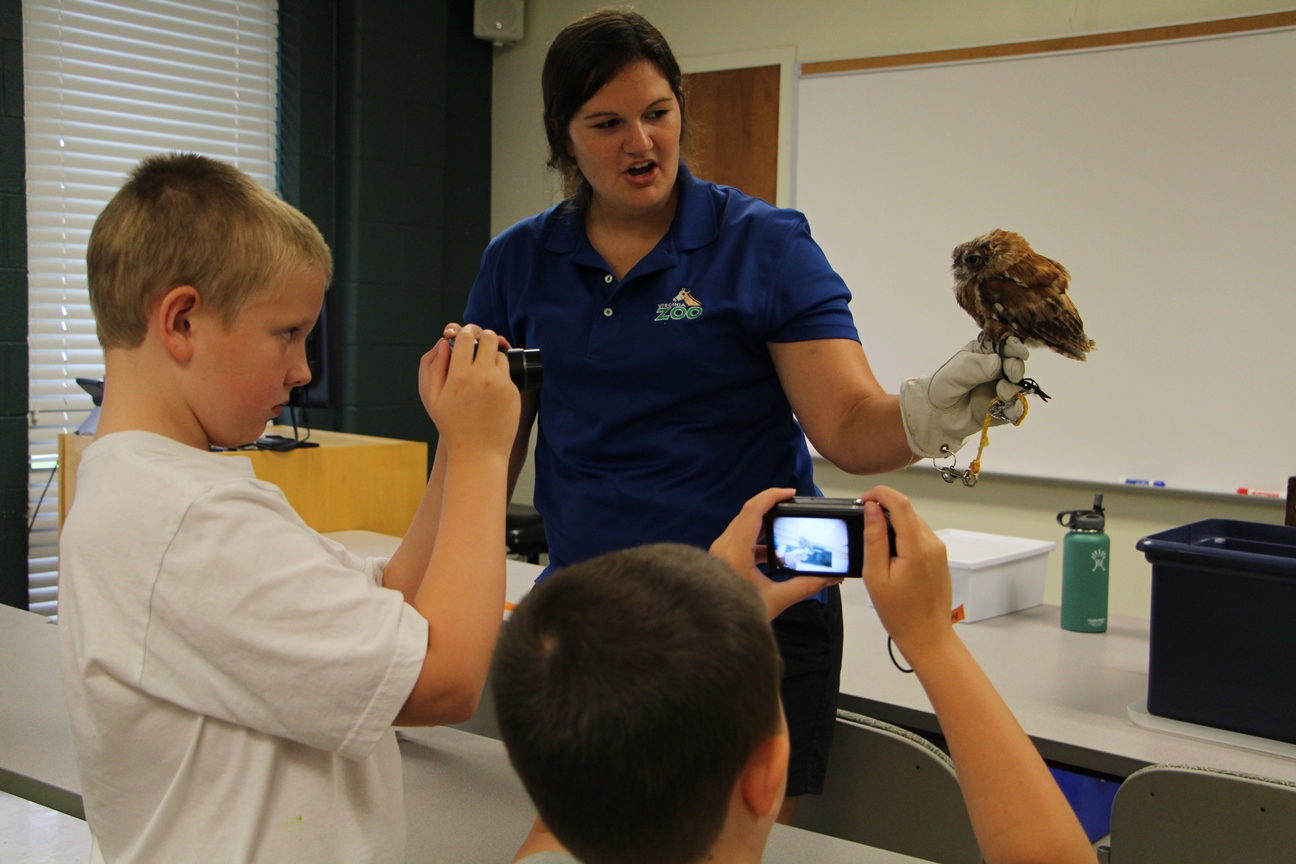 Samantha Hagedorn, with the Virginia Zoo, shows campers many species including a spotted owl.