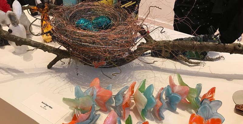 artwork - wire eggs in a nest