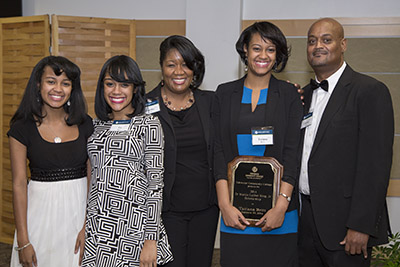 TCC alumna Tatiana Britt with her family at the Dr. Martin Luther King Jr. Scholarship Award ceremony