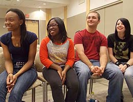 From left, Churchland students Nia Gwinn, Kerri Johnson, Michael Cooke III and Ciara Whitfield