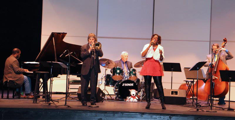 Members of TCC's Blue Moon Jazz ensemble perform on stage