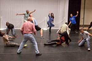 Body movements and voice exercises are part of Ed Jacob's acting classes