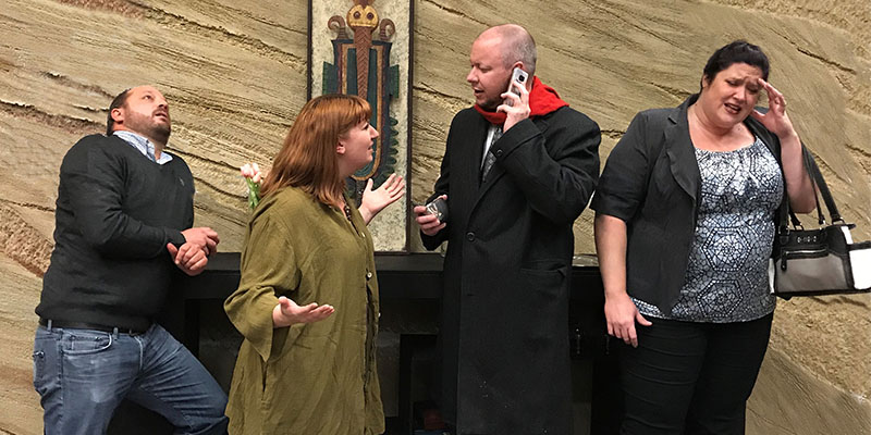 """The cast of """"God of Carnage"""" (left-right) Brian Breshears as Michael, Michelle Jenkins as Veronica with Ed Palmer playing Alan and Kerry Kruk as Annette."""