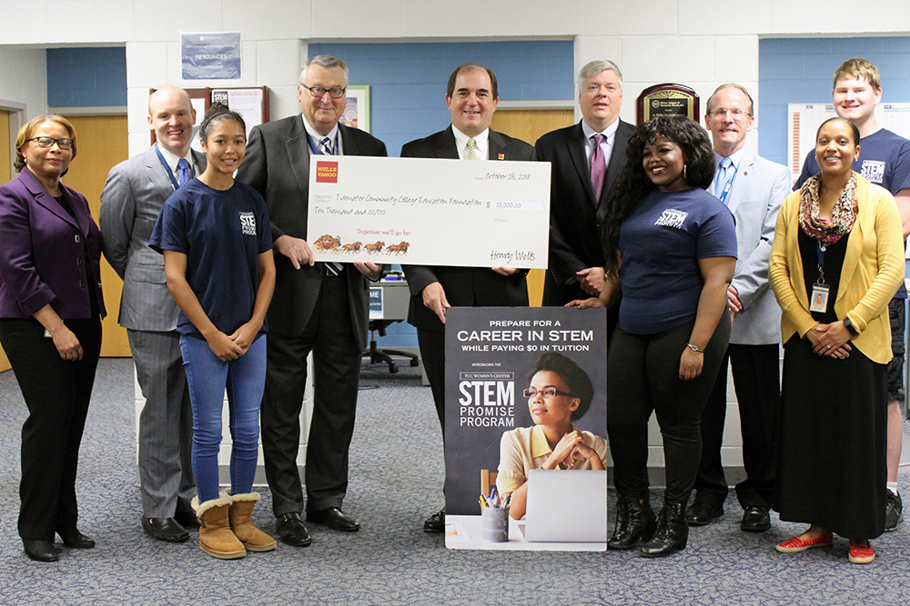 From left, Laverne Ellerbe, executive director, TCC Foundation; Steven Jones, chief development officer, TCC Foundation; Courtney Carr, scholarship recipient; Gregory DeCinque, TCC president; George Ball, senior vice president, Wells Fargo; Van Noland, vice president, Wells Fargo; Christian McClenney, scholarship recipient; Mike Summers, provost, Virginia Beach Campus; Jaedda Hall, STEM Promise coordinator; Zachary Fuge, scholarship recipient