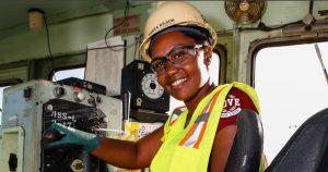 Bianca Wilson on the train at Norfolk Naval Shipyard