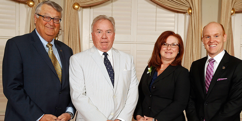 Pam Martin, sales leader with Stanley Black & Decker with (left-right) TCC President Gregory DeCinque, Chancellor Glenn DuBois and Steven Jones, executive director of the TCC Educational Foundation.