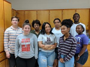 Pharmacy Tech graduates are (front row, left to right) Cassandra Coppola, Destiny Davis, Ayanna Farmer-Lawrence, KyAura Goodman and (back row, left to right) Atlas Bonney, J'La Edwards, Taylor Skyles and Robert McFadden.
