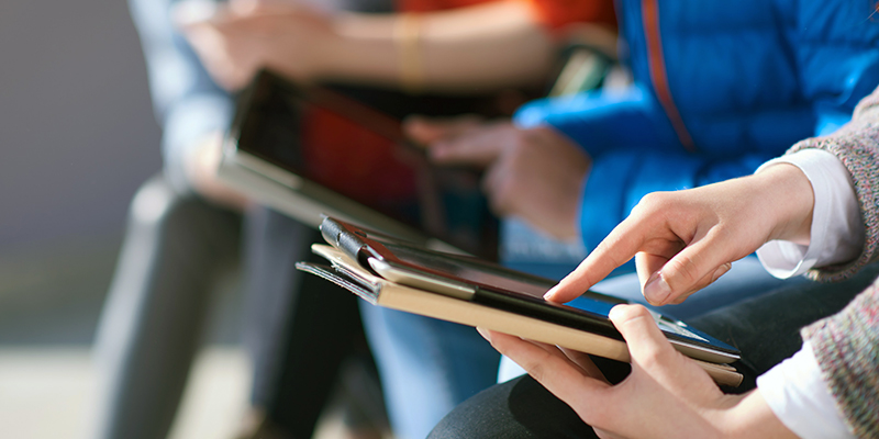 A student using a tablet