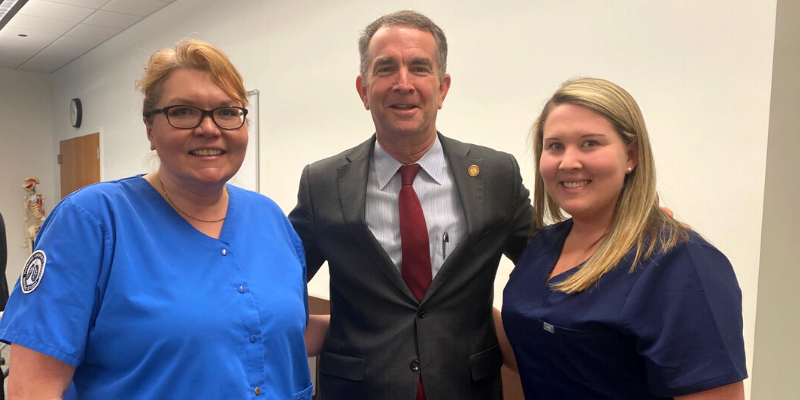 Gov. Northam gets an up-close look at the college's hands-on training in the health care fields