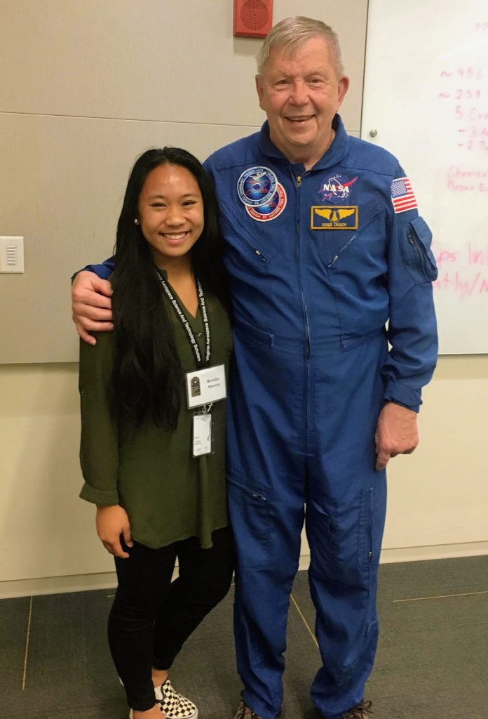 Marcia with astronaut Roger Crouch.