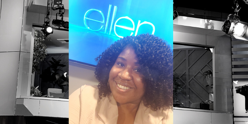 "Rickkita Taylor on the ""Ellen"" show."